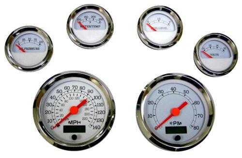 6 Gauge set with senders,Speedo,Tacho,Oil,Temp,Fuel,Volt white//chrome 043WC-S