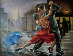 LIMITED-EDITION-PRINT-BY-ELLECTRA-TANGO-FLAMENCO-DANCERS-EROTIC-OIL-VALENTINES