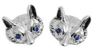 Fox head clous en or 9 carats avec saphir yeux fabriqué à la main  </span>