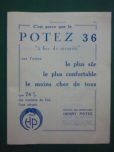 6-1932-PUB-AEROPLANES-HENRY-POTEZ-MEAULTE-AVION-POTEZ-36-AIRCRAFT-ORIGINAL-AD