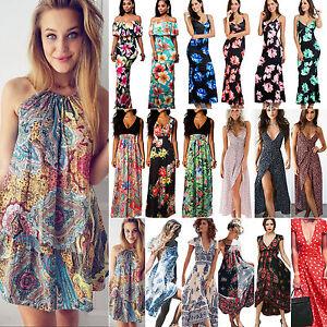 Women-Summer-Boho-Floral-Long-Maxi-Evening-Party-Cocktail-Beach-Dresses-Sundress