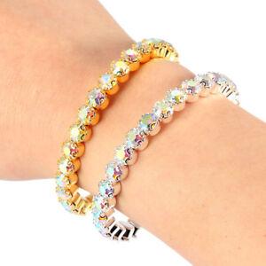1Row-Crystal-Rhinestone-Wristband-Elastic-Stretch-Bangle-Bracelet-Wedding-Bridal