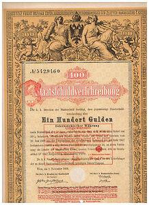 Staatsschuldverschreibung-Osterreich-Wien-1868-100-Gulden