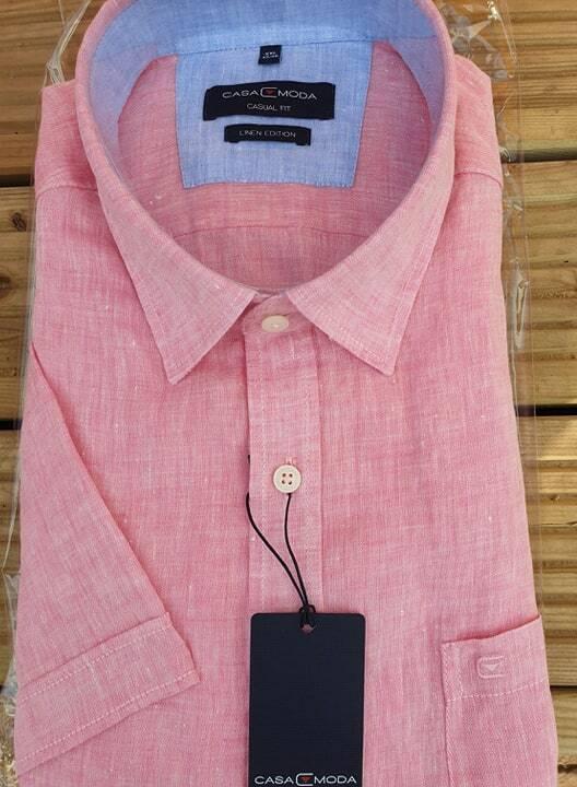 Casa Moda Nuovo Nuovo Nuovo Lino rosa Camicia a Manica Corta XXL 3xl4xl5xl6xl 7XL db18cd