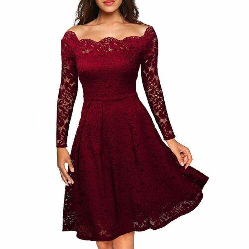 Damen Cocktailkleid Spitze kleider Rockabilly Vintage Mini 1 Abendkleid Langarm