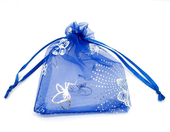 Wholesale NEW 7x9cm Blau Butterfly Organza Wedding Gift Bags&Pouches