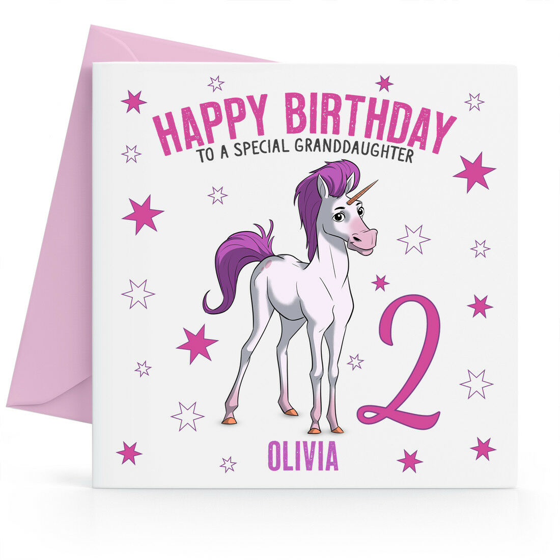 Details About Personalised Girls 2nd Birthday Card Daughter Granddaughter Niece Message Name