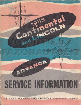 1958 Lincoln Continental Capri Premier Shop Service Repair Manual Book Guide OEM