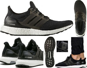 more photos 4b9ac e6f7c Image is loading ADIDAS-ULTRA-BOOST-BLACK-WHITE-3-0-Trainers-