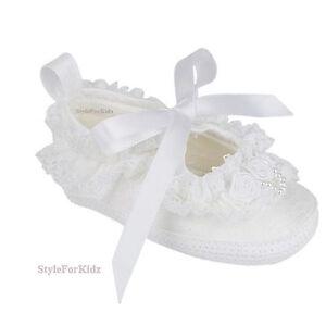 b927187a783b Baby Girls White Ivory Christening Shoes Wedding