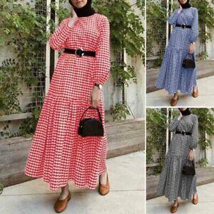 Muslim Women Check Plaid Long Sleeve Maxi Dress Evening Party Abaya Kaftan Plus