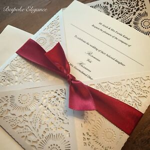 Christmas Wedding Invitations.Details About Handmade Christmas Wedding Invitation Personalised Laser Cut