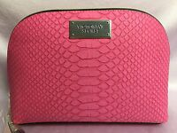 Victoria's Secret Large Pink Faux Leather Makeup Cosmetic Bag Case Pouch