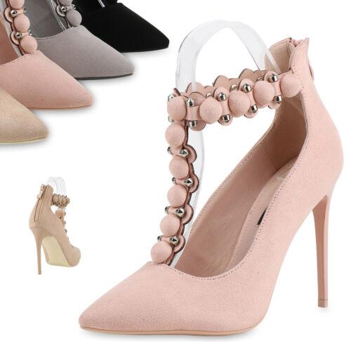 Damen Spitze Pumps High Heels Stilettos Veloursoptik Nieten Schuhe 818222 Top