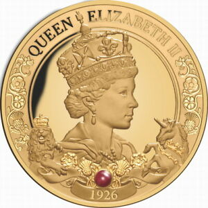 Niue 2021 Queen Elizabeth II 95th Birthday QEII $100 1 Oz Pure Gold w/ Ruby Gem