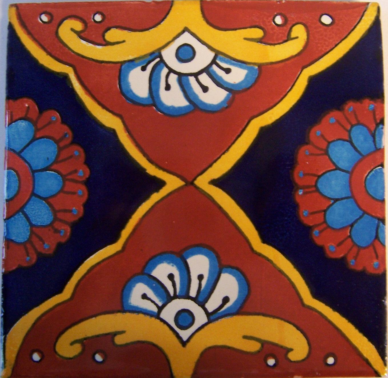 C275- Mexican Handmade Talavera Clay Tile Folk Art 4x4
