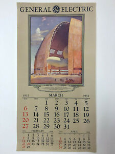 March-1932-General-Electric-Wall-Calendar-Page-AKRON-OH-GOODYEAR-AIRDOCK-Illus