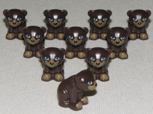 LEGO LOT OF 10 NEW DARK BROWN FRIENDS BEAR ANIMALS FIGURE PIECE