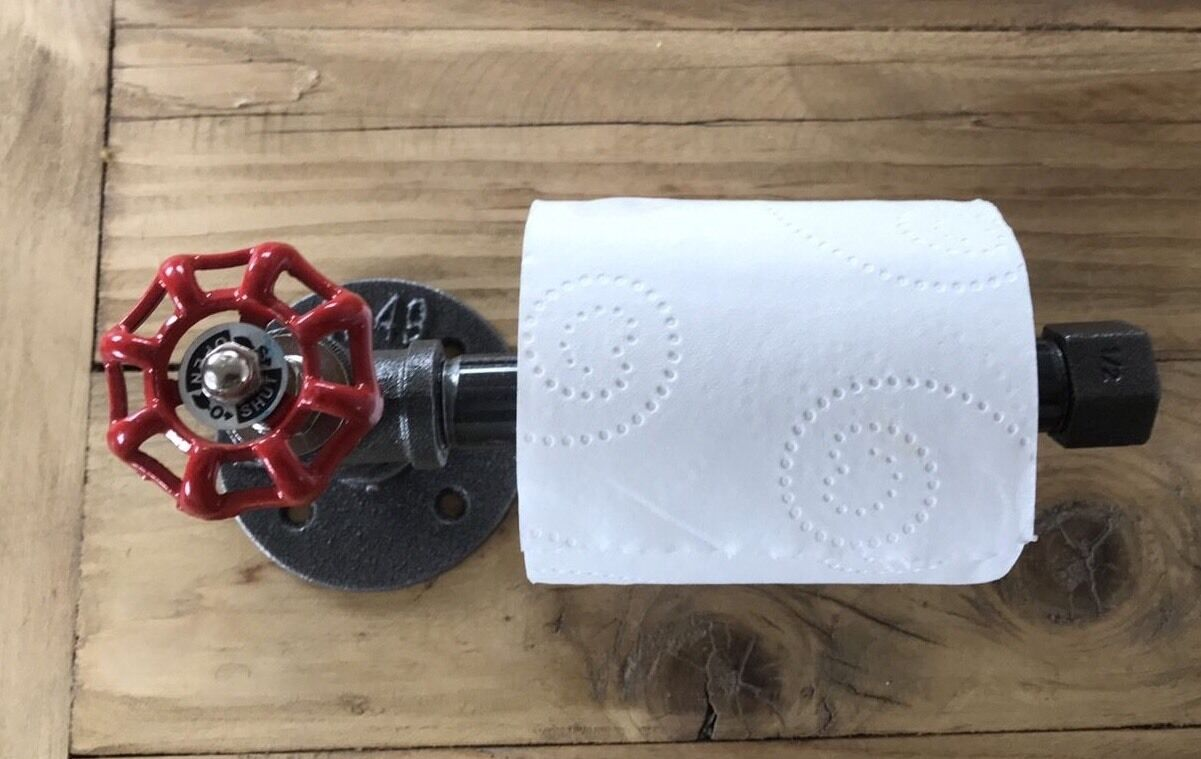 Red Toilet Roll Holder / Industrial Toilet Roll Holder / Industrial Chic