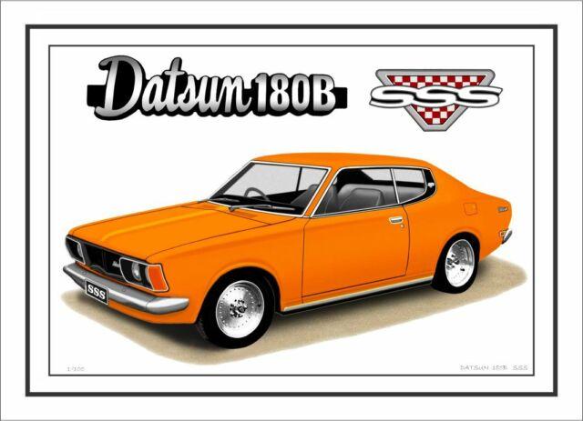 DATSUN  1200   SEDAN  LIMITED EDITION CAR DRAWING  PRINT 7  CAR  COLOURS
