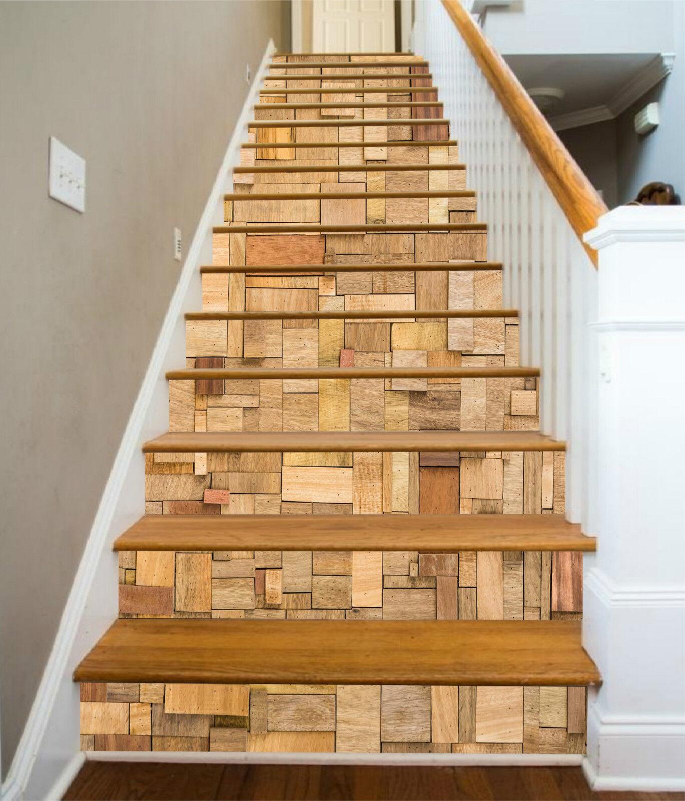 3D Holzpflaster 046 Stair Risers Dekoration Fototapete Vinyl Aufkleber Tapete DE