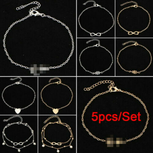 5 Pcs Ankle Bracelet Women Anklet Adjustable Chain Foot Beach Jewelry Gifts