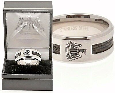 ec5c355f1f1bf1 NEWCASTLE UNITED FC STAINLESS STEEL BLACK INLAY BAND RING COMPLETE GIFT BOX  NUFC | eBay