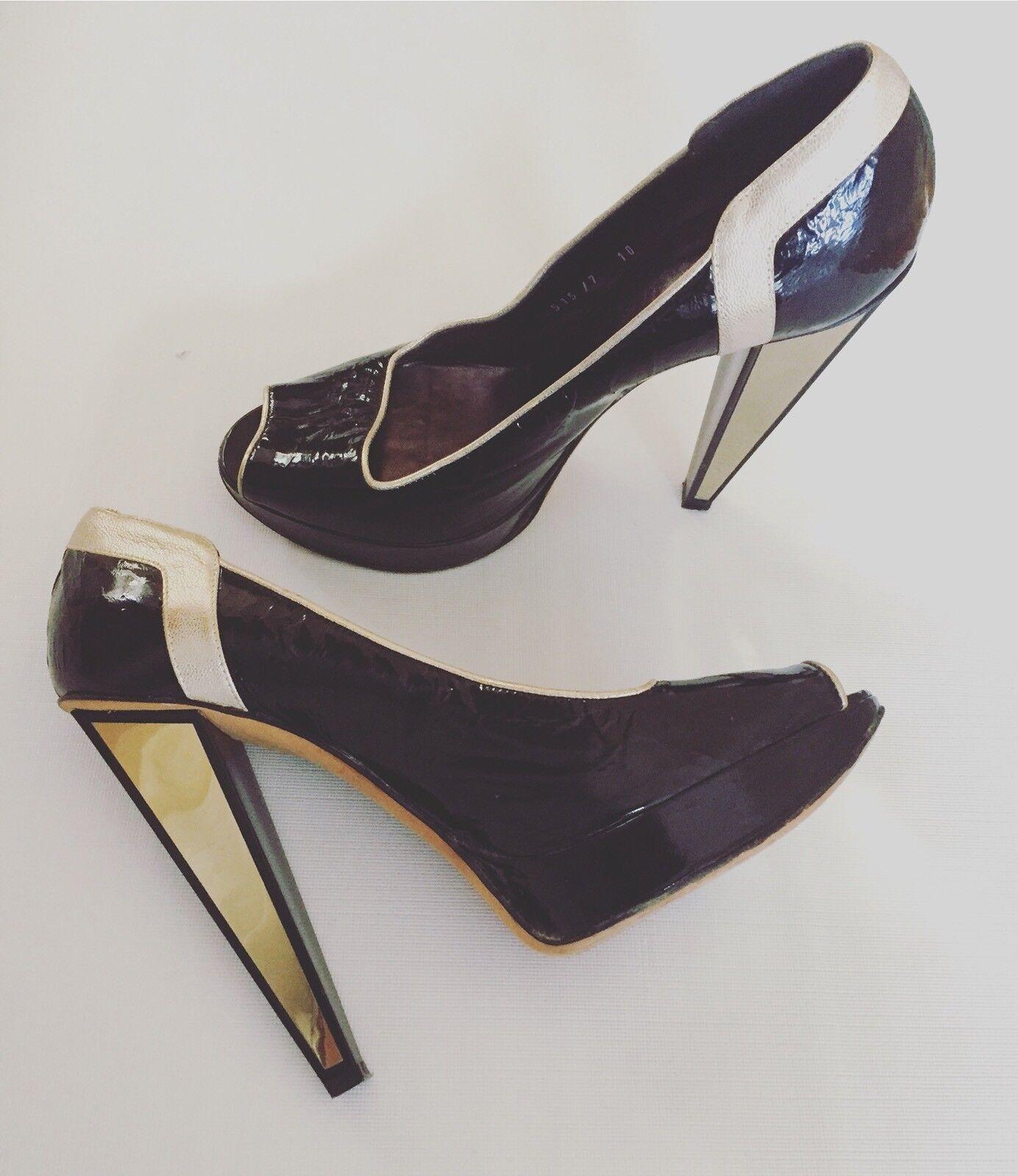 savingglory VERSACE Platforms Patent Leather High Heels Stilettos 40 Au 10