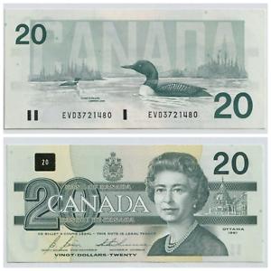 1991-20-Bank-of-Canada-Bonin-Thiessen-Prefix-EVD-AU-UNC