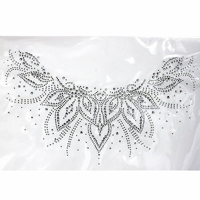Rhinestone Iron on Transfer Hot fix Motif crystal Fashion Design Flowers line V