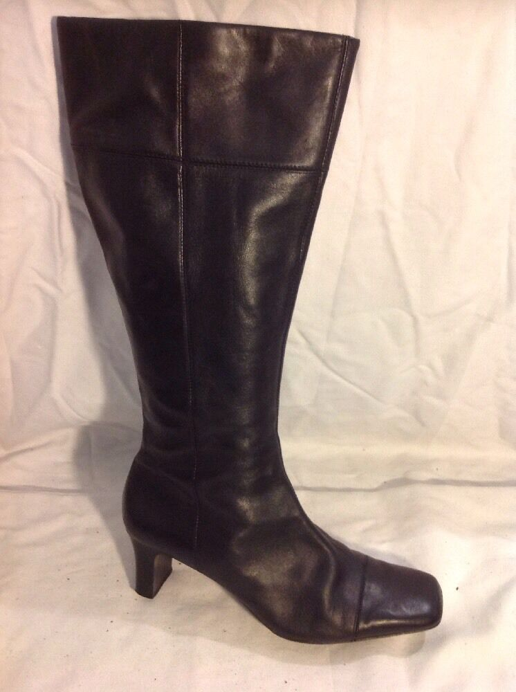 Clarks Black Knee High Leather Boots Size 5.5D