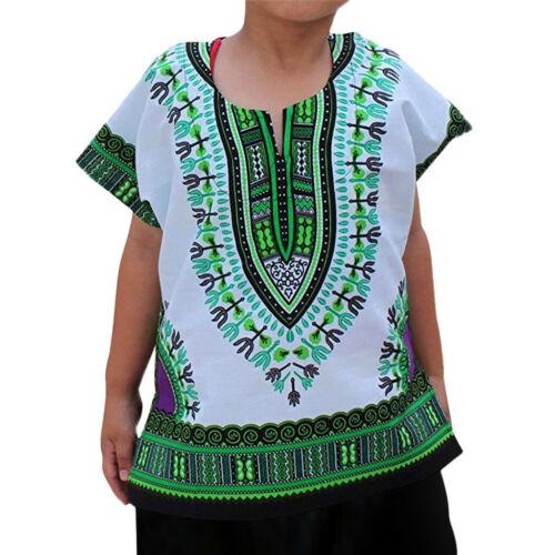 Fashion Kid Boy Girl Unisex Bright African Colour Child Dashiki T Shirt Tee Tops