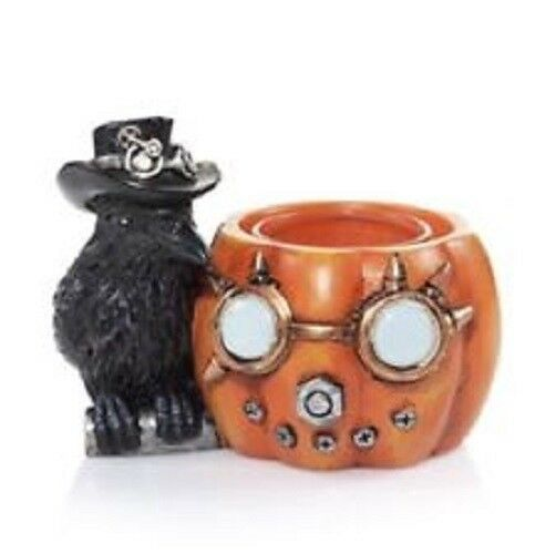 Yankee Candle Steampunk Pumpkin Raven Tea Light Holder Orange Black Ebay