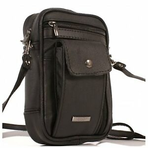 Mens-LORENZ-Black-Leather-3728-Small-Multi-Functional-Travel-Shoulder-Man-Bag