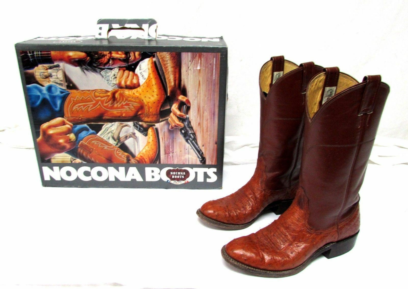 Nocona women's size 8 B Smooth Ostrich cow calf brown cowboy boots