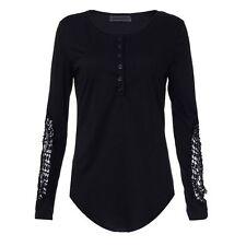 Fashion Womens Long Sleeve Shirt Casual Lace Blouse Loose Cotton Top T Shirt