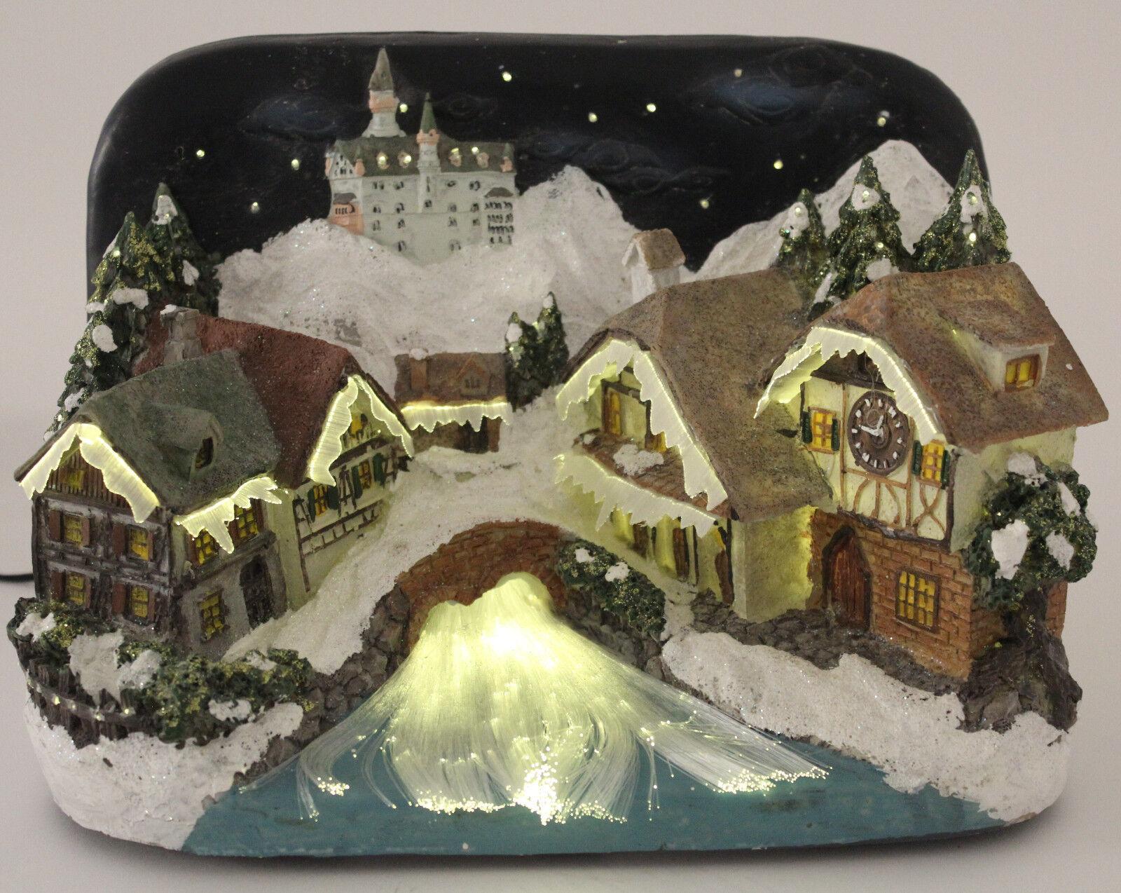 LED Weihnachten Weihnachtshaus Nostalgie Winterlandschaft 15cm Dekoration