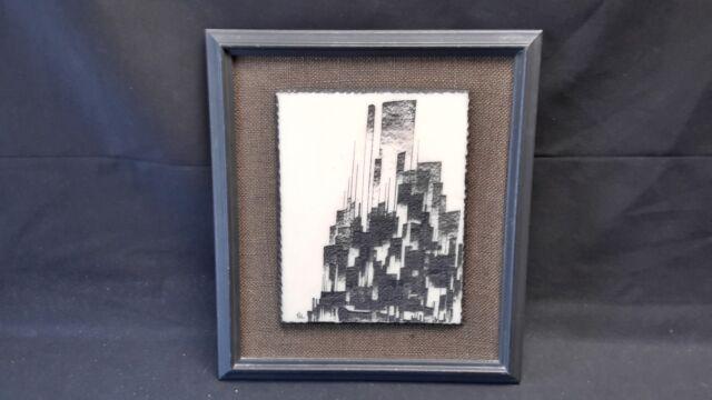 Artini Engraving Hand Painted Black & Cream Framed On Burlap