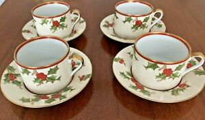 FITZ-AND-FLOYD-CHRISTMAS-HOLLY-COFFEE-TEA-CUPS-WITH-SAUCER-SET-OF-4-NEW-IN-BOX