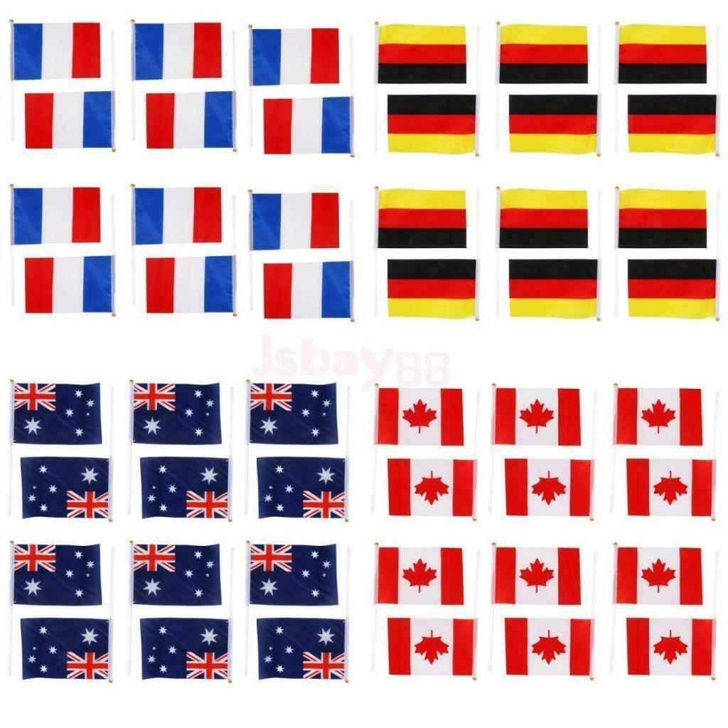 9 x 6 Pack Of 12 France French Tricolour Hand Waving Flags 30cm Wooden Pole Ideal For Party Conferences Office Display