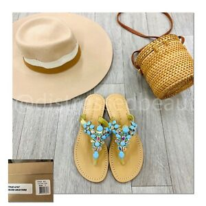 NEW-Trina-Turk-218-SOLD-OUT-Embellished-Mesa-Thong-Leather-Sandals-Size-9