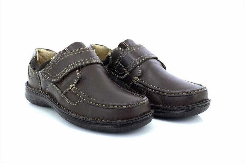 Dr Keller Pluto Leder Oben Klettverschluss Elegante Formelle Schuhe Brown