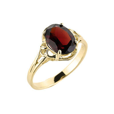 10K Gold Ladies January Birthstone 1.97ct Garnet Oval Shape Gemstone Made in USA
