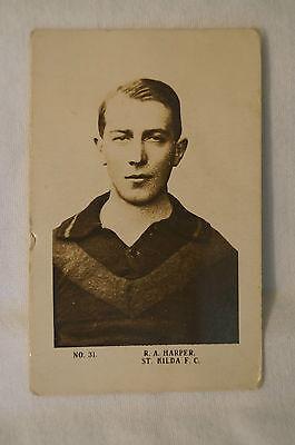 St.Kilda - JJ SCHUH - 1920's Vintage Magpie Card - R.A. Harper.