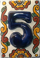 Blue Mexican Tile Talavera Ceramic House Numbers Tile
