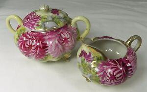 Vintage-Hand-Painted-Creamer-and-Sugar-Bowl-amp-Lid-Dark-Pink-Mums-Gold-Trim