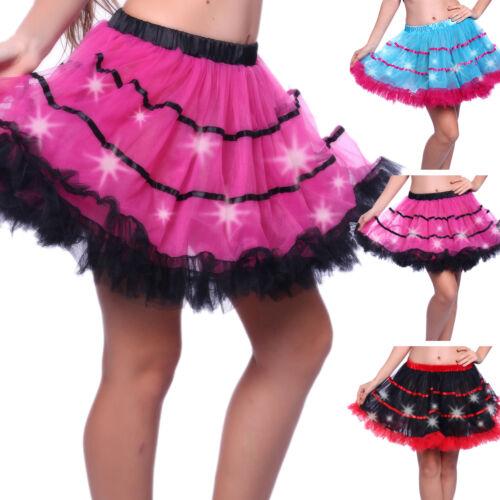 Lady LED Light Up Layered Dance Rave Tutu Skirts Adult Costume Fancy Dress