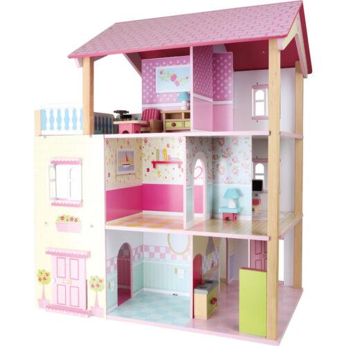 Maison de poupée en bois, toit rose pivotant sur 3 étages