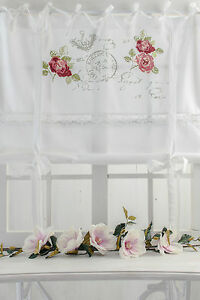 rose garden raffrollo 140x120cm weiss rosen spitze raffgardine landhaus shabby ebay. Black Bedroom Furniture Sets. Home Design Ideas