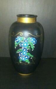 Beautiful Antique Pottery Vase Vintage Pottery Blue Floral Collectible Unmarked